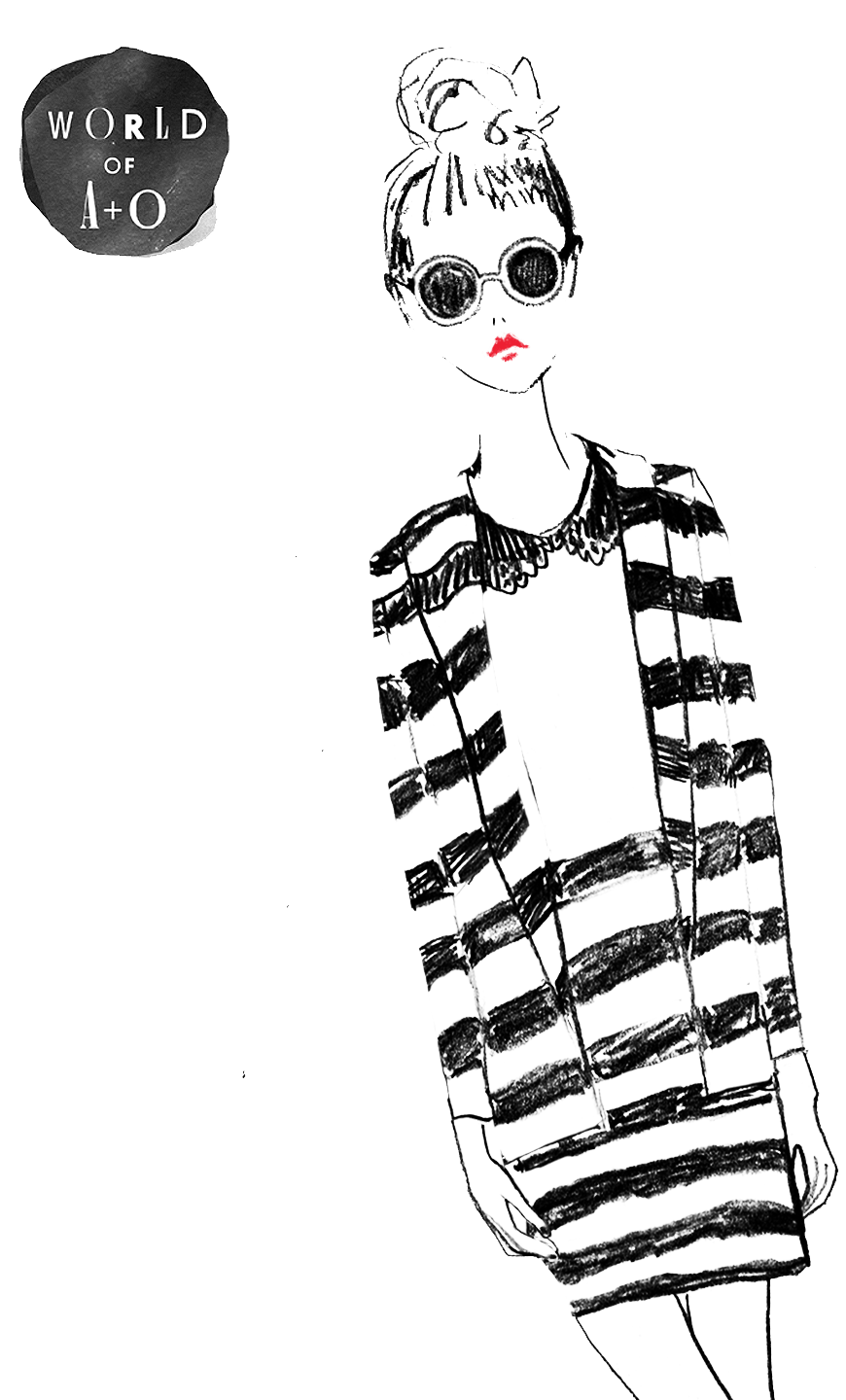 Noir drawing mademoiselle. Stripes striped to perfection