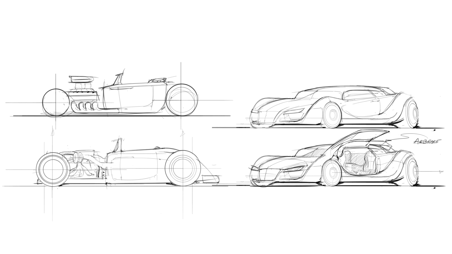 Portfolio drawing industrial design. Some car sketching core
