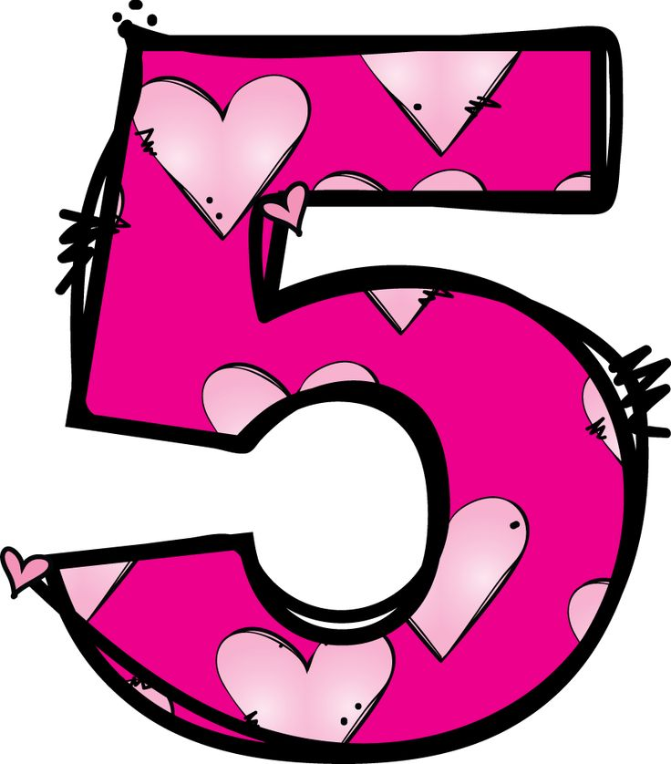 5 clipart. Pink number pencil