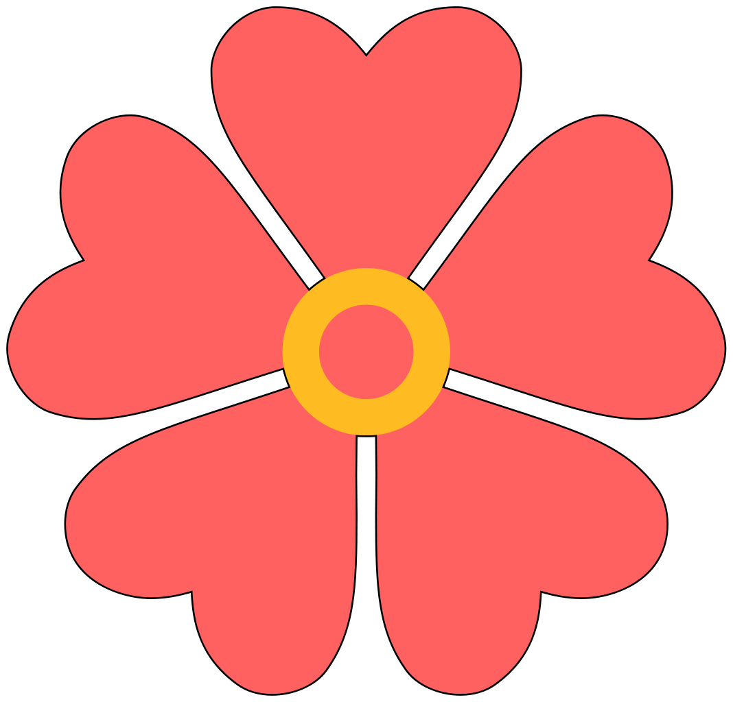 5 petal flower png. File with heart shaped