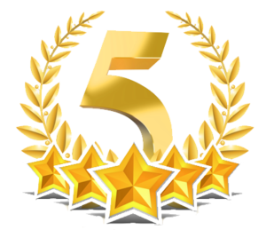 Vector 5 stars. Free star rating icon