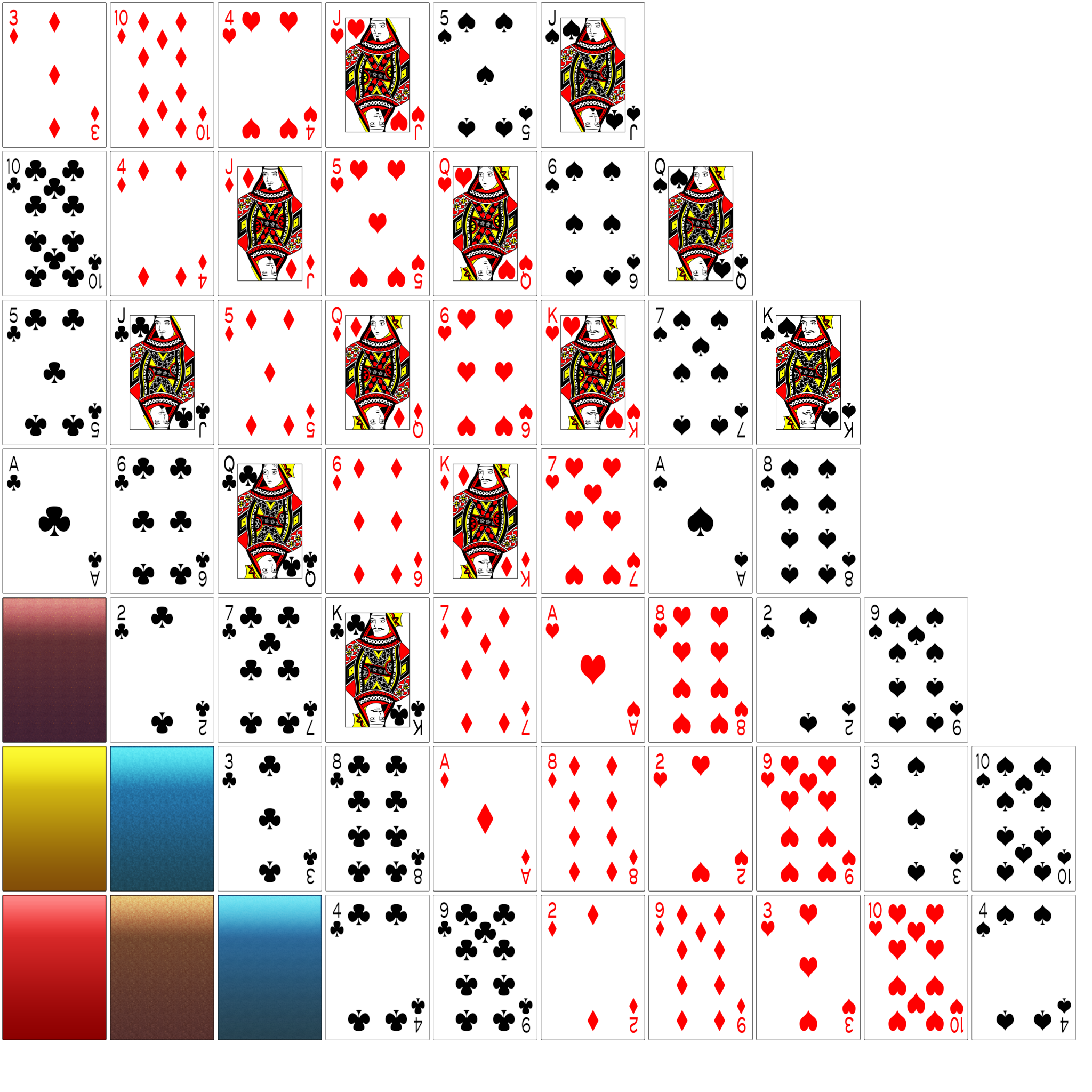 52 playing cards png. A simple card game