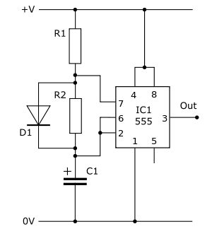 Practical electronics astables wikibooks. 555 svg black and white library