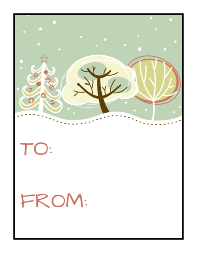 5x7 decorative labels png. Snowy scene holiday gift