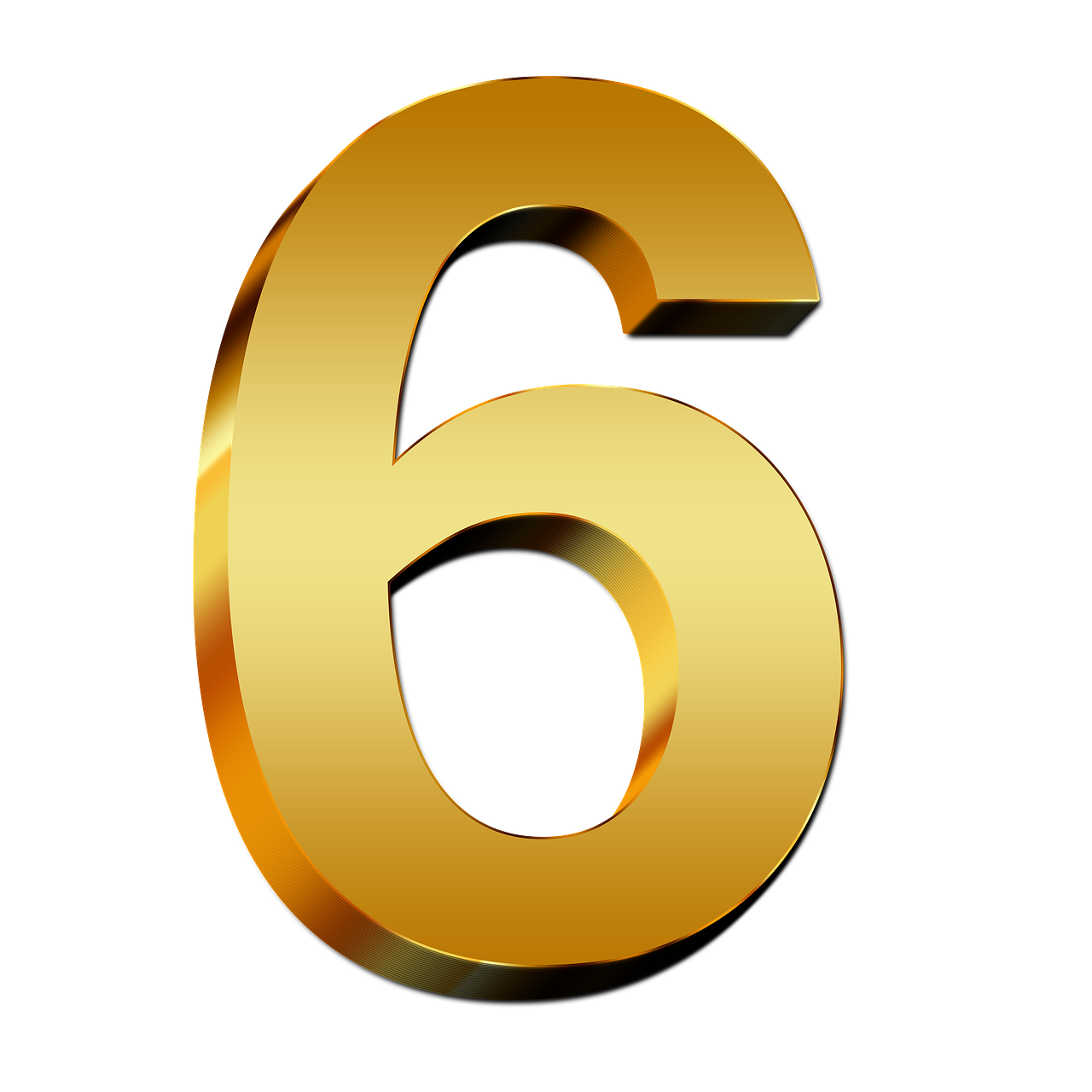 6 clipart gold number. Png clip art