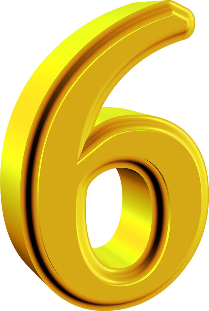 6 clipart gold number. Png pinterest numbers