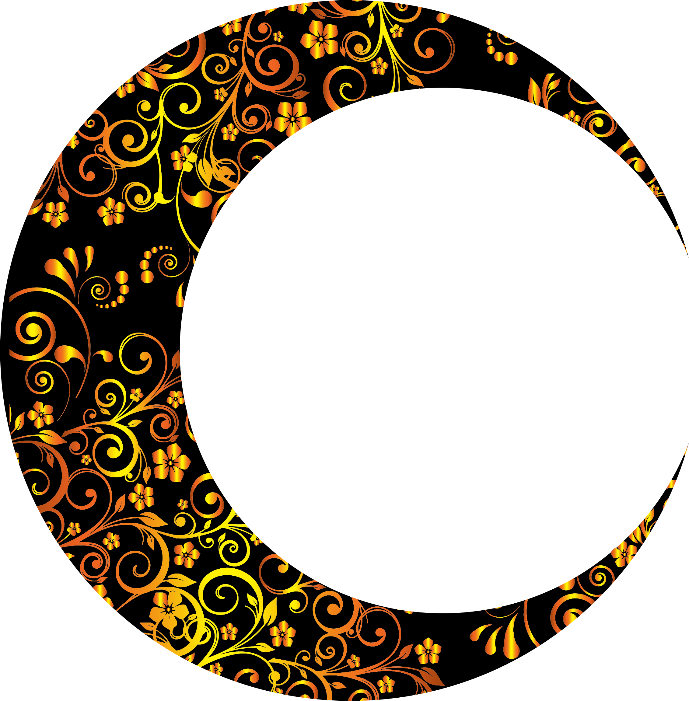 6 clipart gold number. Floral crescent moon mark