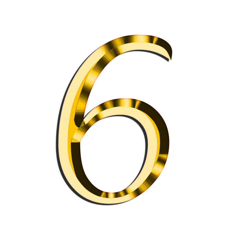 6 clipart gold number. Download free png golden