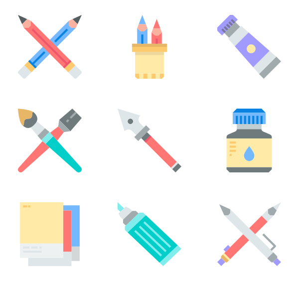 Vector pens flat. Pencil icons free stationery
