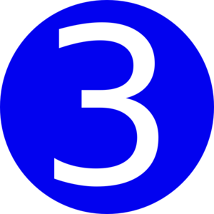 3 clipart. Blue rounded with number