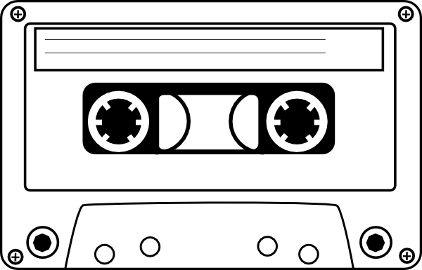 80's clipart cassette player. Tape clip art vector