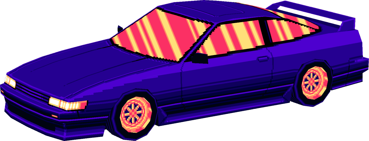 80s transparent low poly. Gaming cars s high