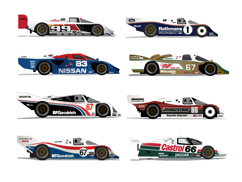 80's vector car. Imsa gtp hour racing