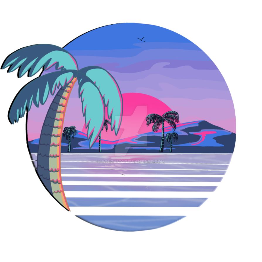80's vector vaporwave. Beach redbubble by whizavy