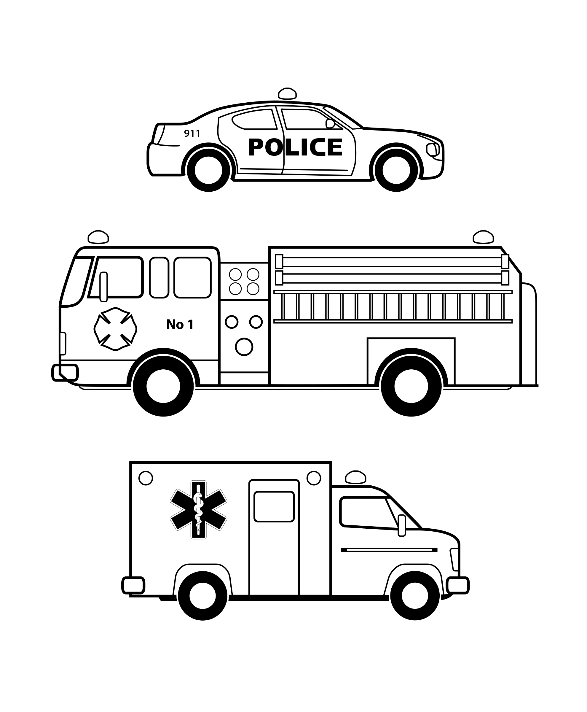 911 clipart emergency. Vehicles black and white