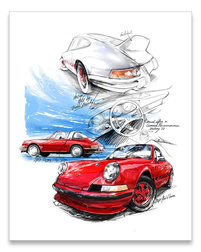 911 drawing artwork. Porsche carrera classic car