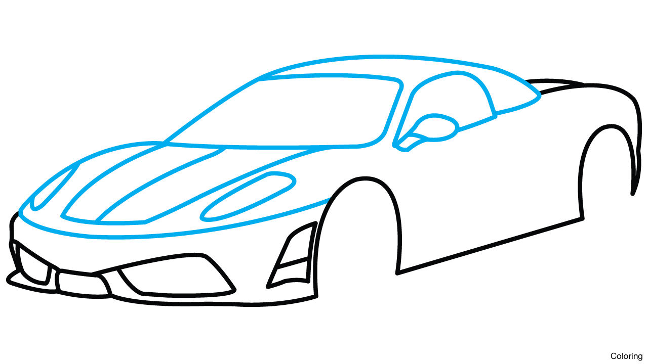 Transport drawing sports car. Side view at getdrawings