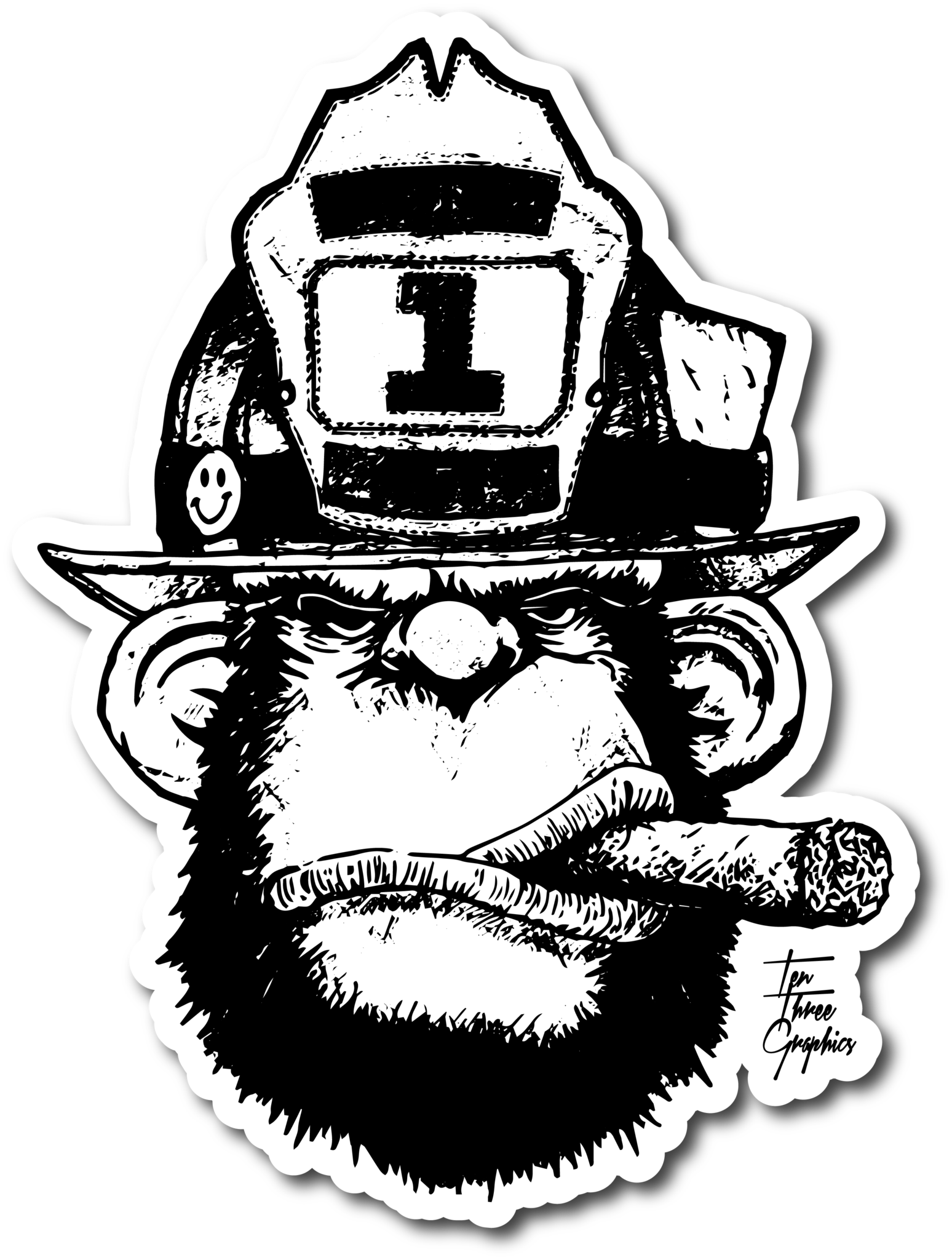 911 drawing firefighter. Stretch in decal firefighting