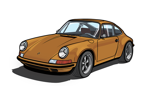 Porsche vector illustrator. Classic vetor on student