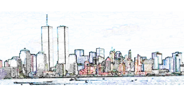 911 drawing twin tower. Remembered blue water