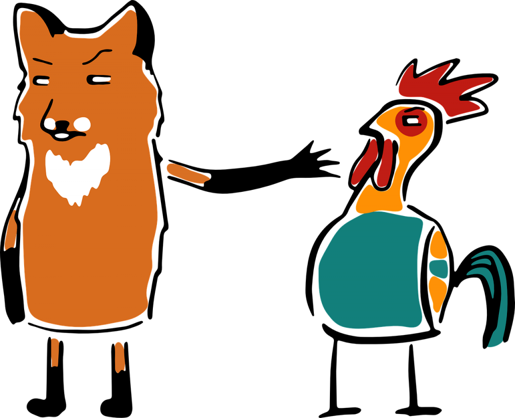 A fox and a chicken. My kids the grain