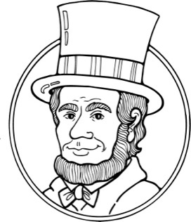 Abraham lincoln clipart aberaham. Black and white letters