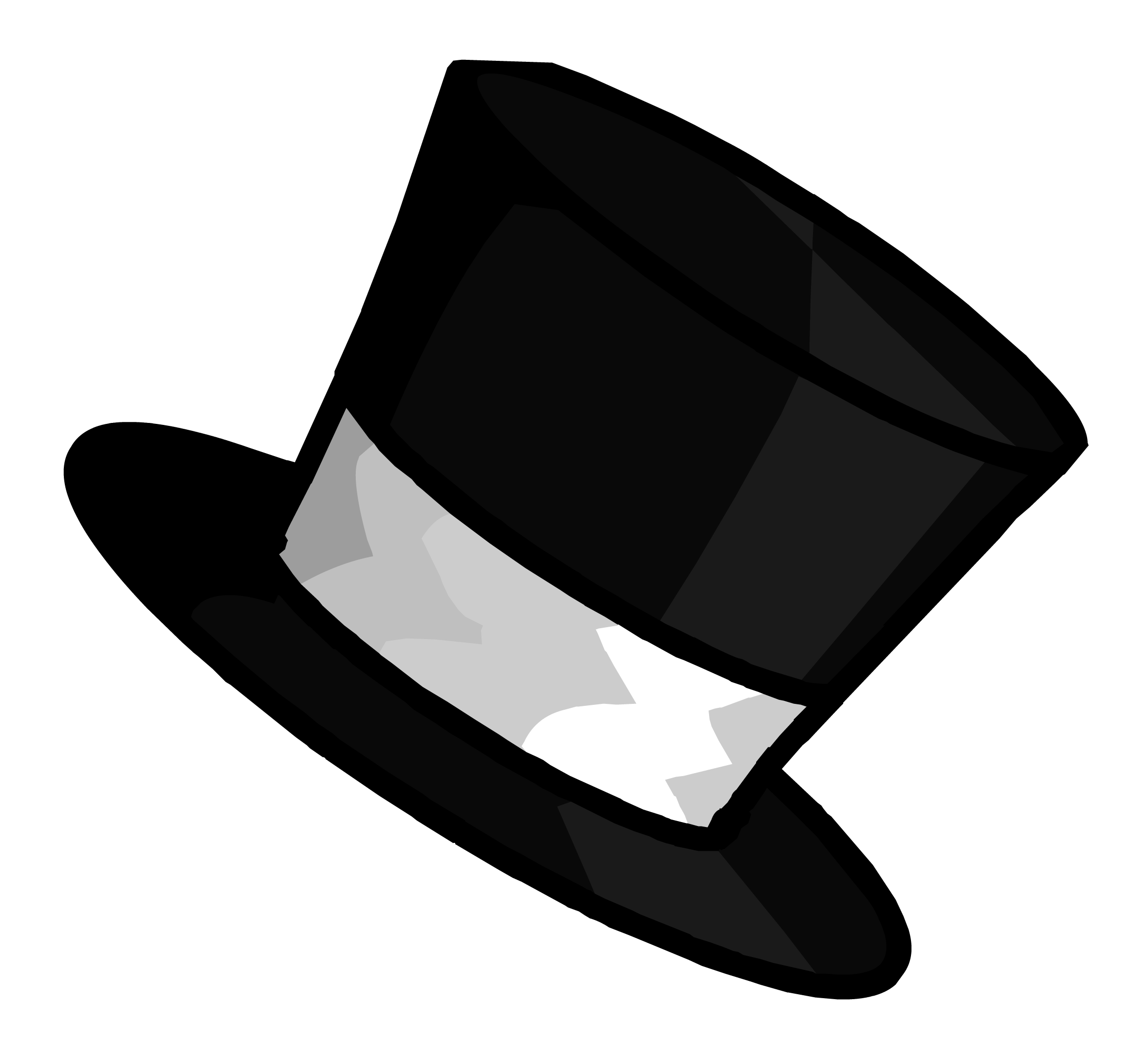 Drawing penguins top hat. Outline pin club penguin