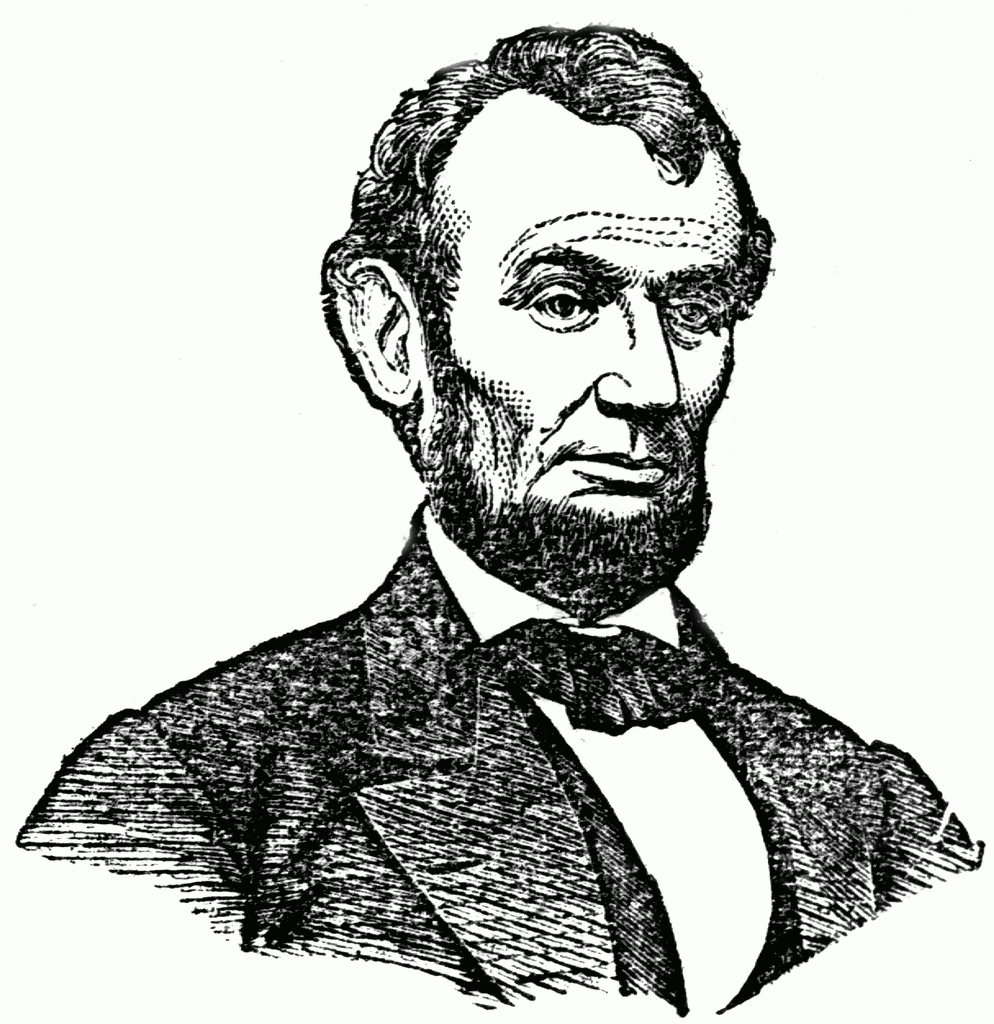 Abraham lincoln clipart public domain. Black and white letters