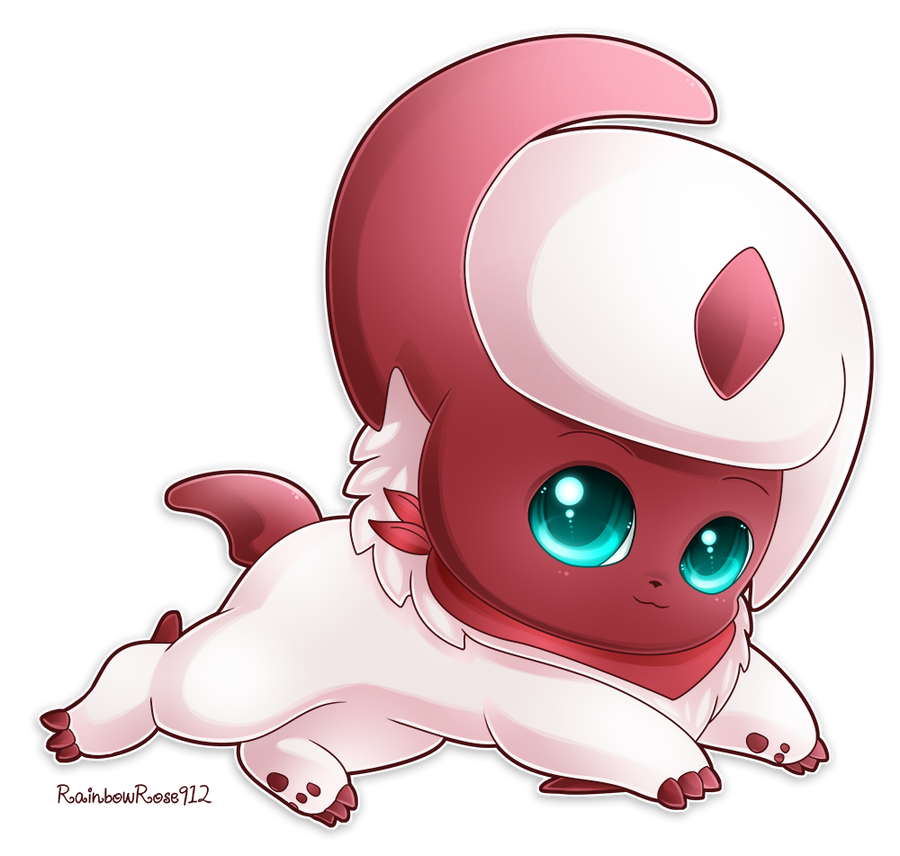 Absol transparent kawaii. Commission shiny by rainbowrose