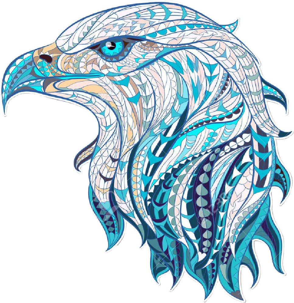Abstract animal png. Eagle pretty bird blue