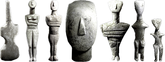 Sculptural drawing famous. The cycladic sculptures figurines