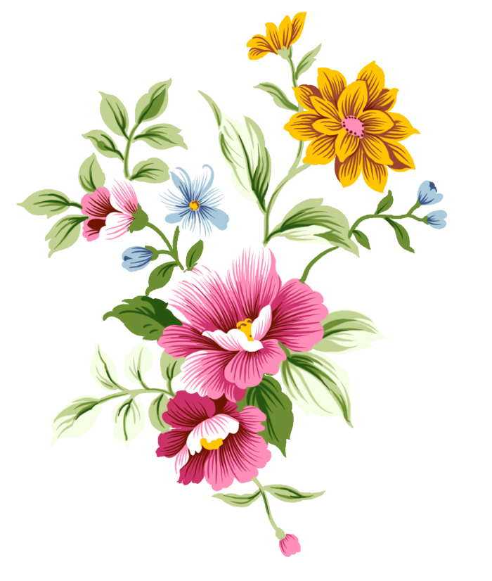 Abstract flowers png. Flower vector clipart psd