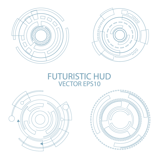 Abstract circle digital technology. Hud vector clipart free library
