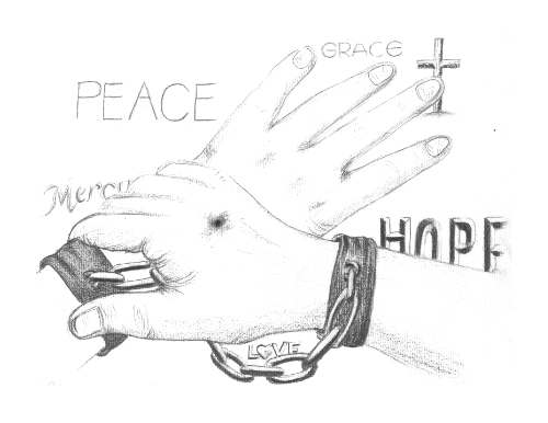 Wash drawing hand sketch. The creative word of