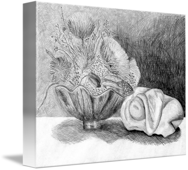 Surrealist drawing still life. Pencil by lisa pluchino