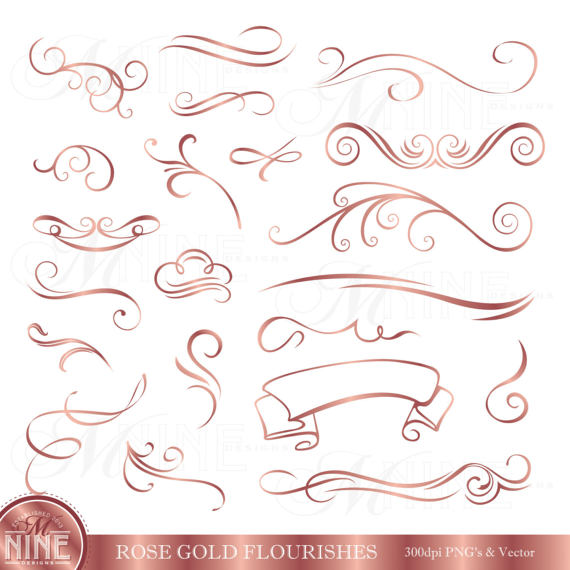 Accents clipart wedding. Rose gold flourishes clip