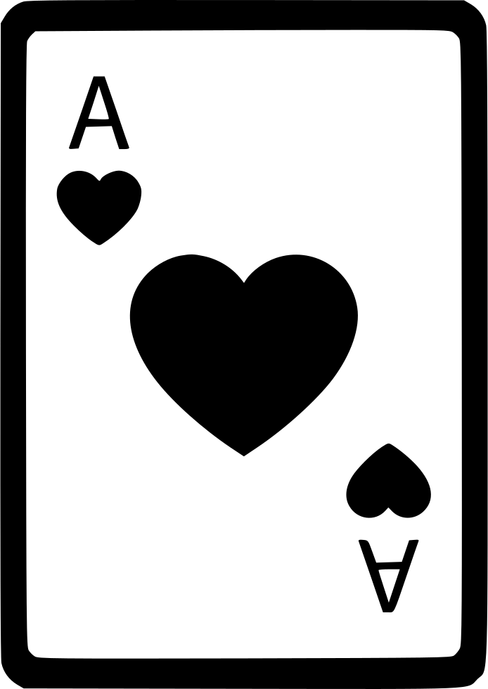 Card poker svg icon. Ace of hearts png clipart black and white