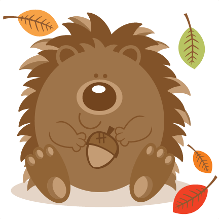 Hedgehog svg simple cartoon. With acorn scrapbook cut