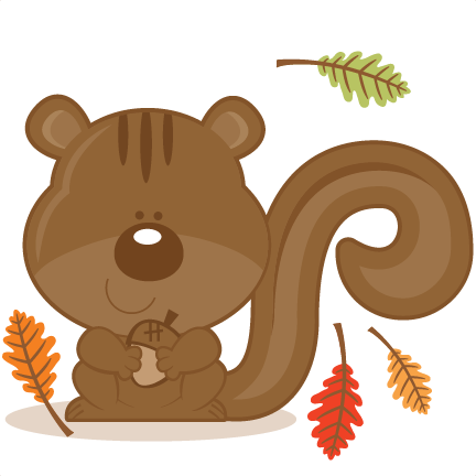 Acorn svg silhouette. Squirrel with scrapbook cut