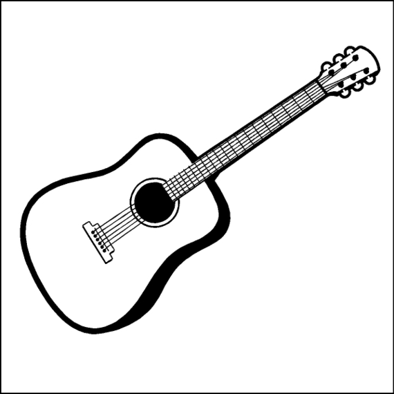 White clipart guitar. Outline drawing at getdrawings