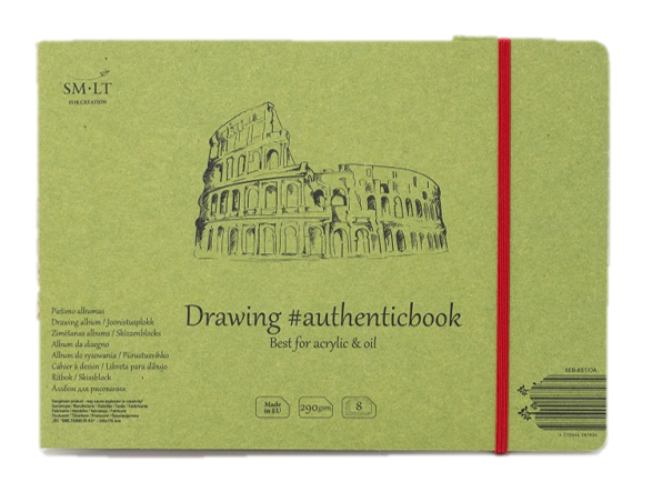 Acrylic drawing. Stitched album authenticbook for