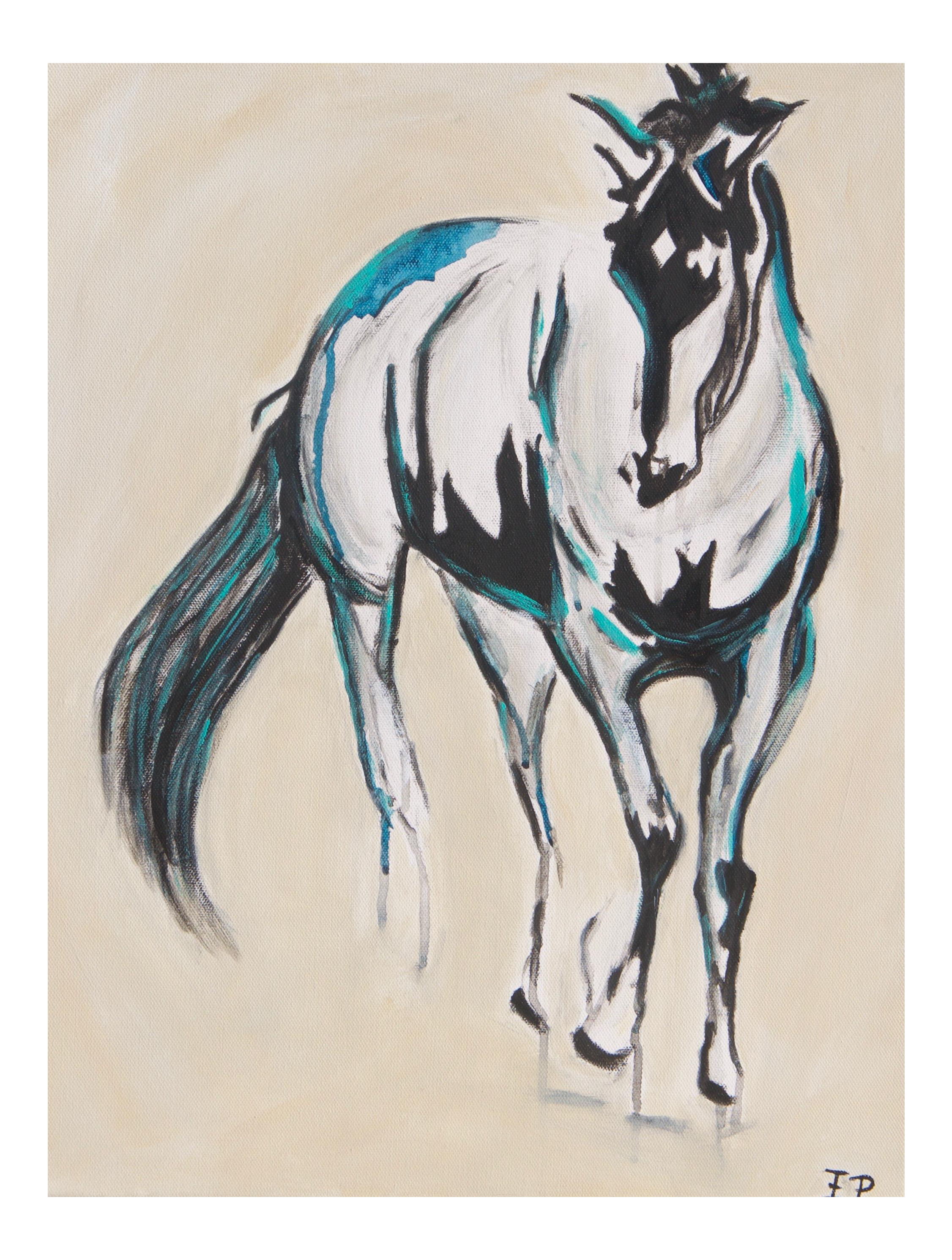 Acrylic drawing animal. Abstract painting pete in