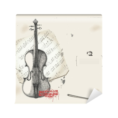 Acrylic drawing background. Violin music instrument with