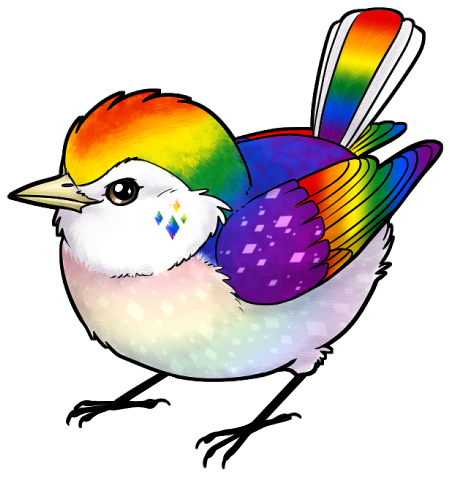 Double drawing bird. Pride charms by g