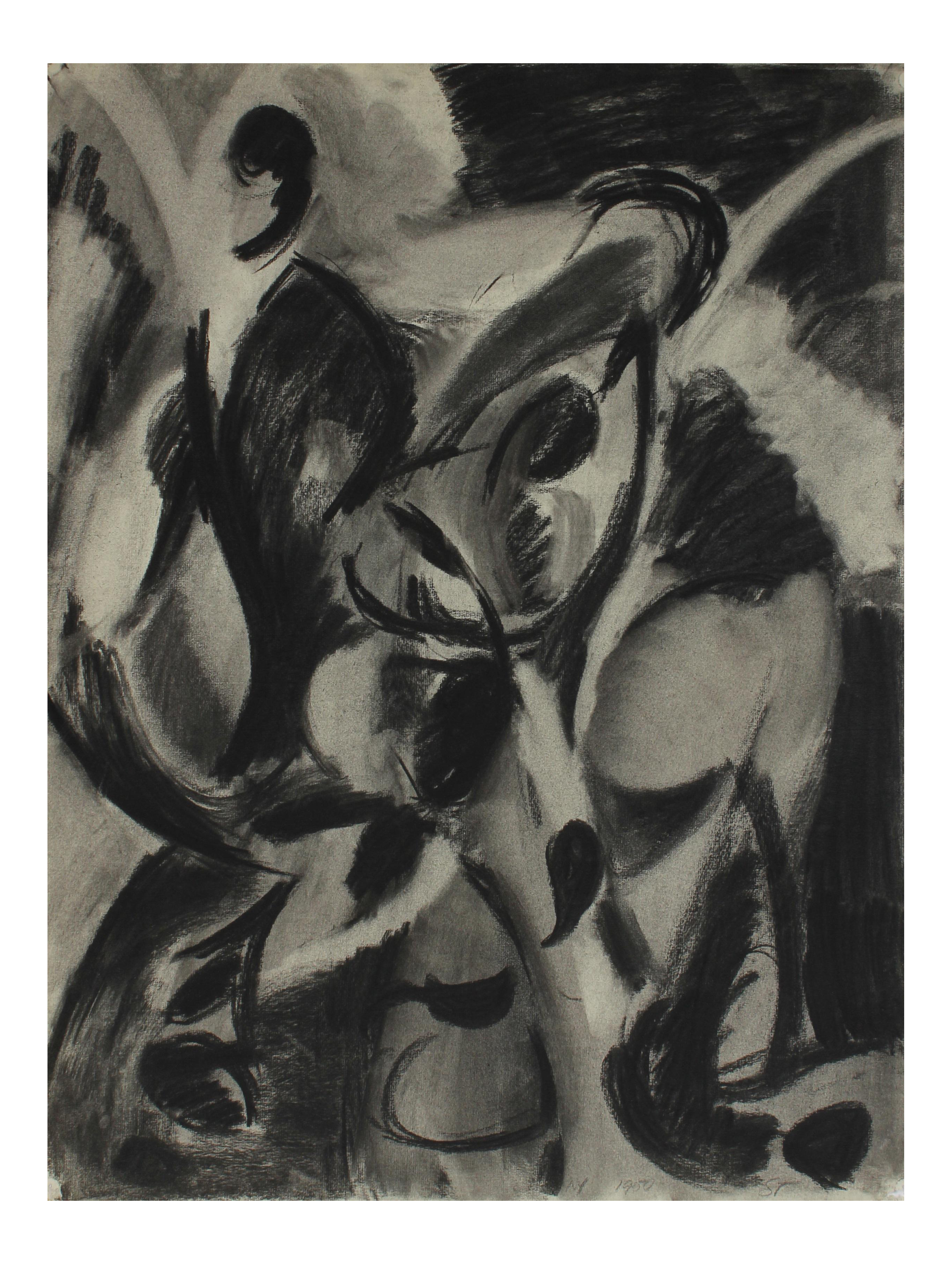 Acrylic drawing charcoal. Exceptional monochromatic abstract figures