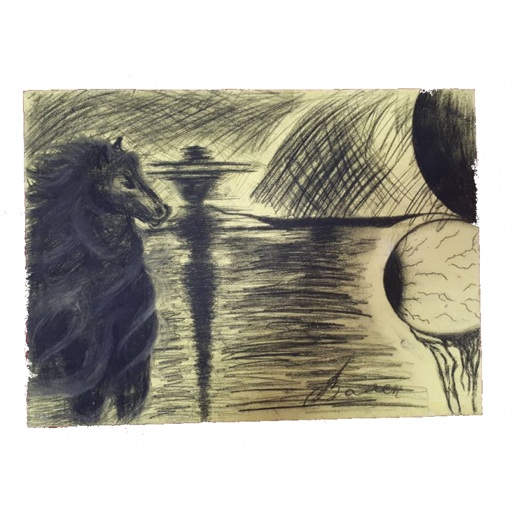 Drawing candle charcoal. Picture gaze out of