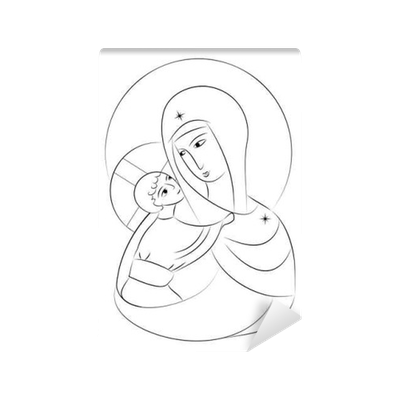 Acrylic drawing children's. Blessed virgin mary madonna