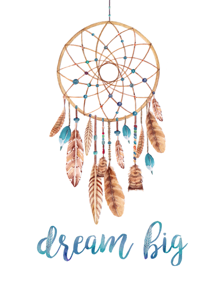 Dreamcatcher transparent boho. A motivational bohemian art