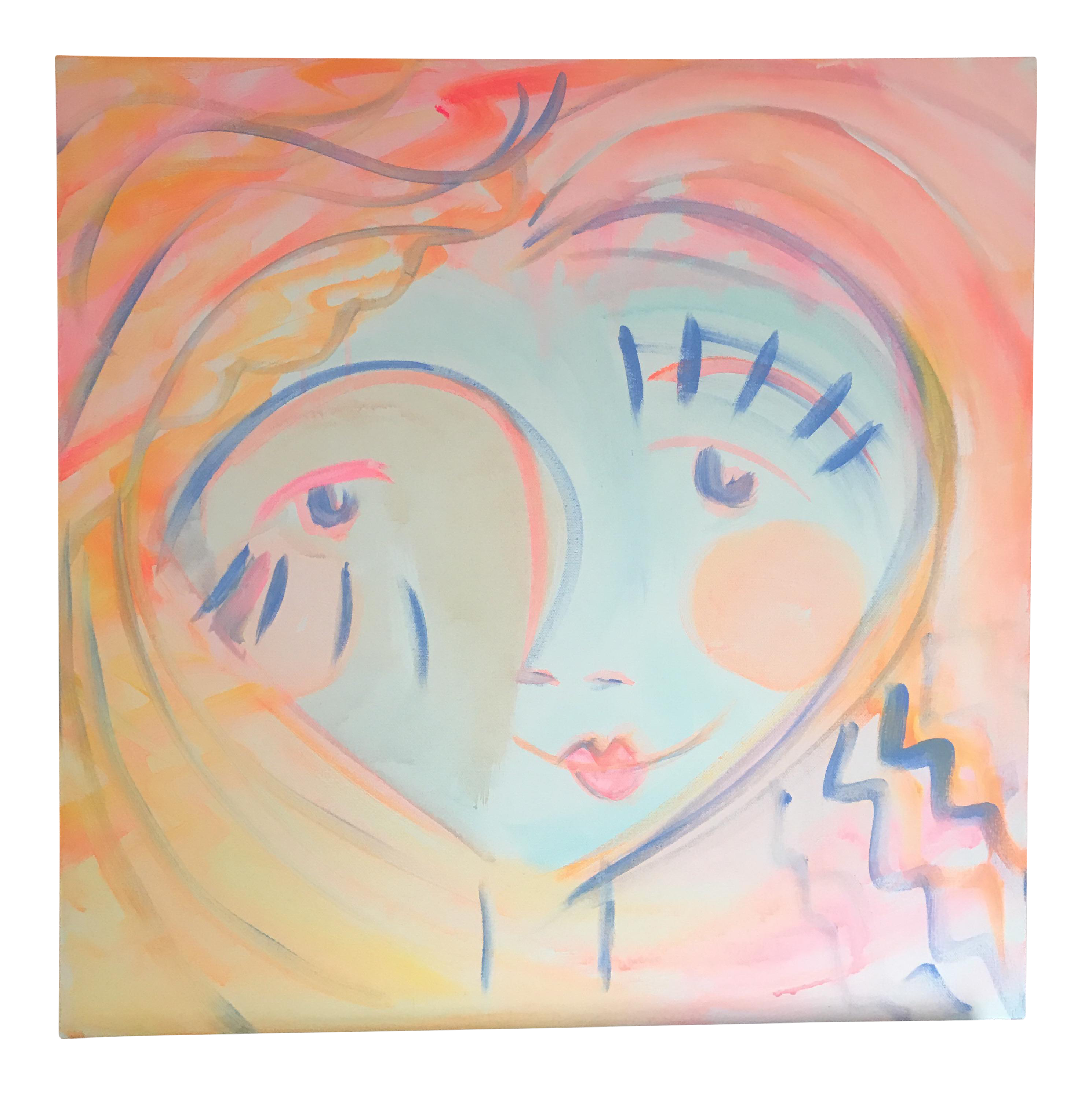 Acrylic drawing face. Abstract painting happy by