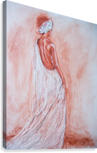 Acrylic drawing figure. Woman in white cloth